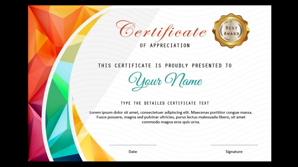 certificate template for powerpoint word