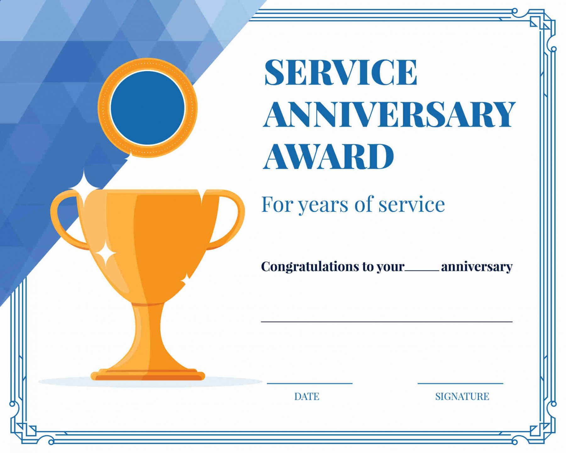 editable 10 year service certificate template doc