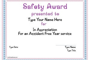 editable safety award certificate template example