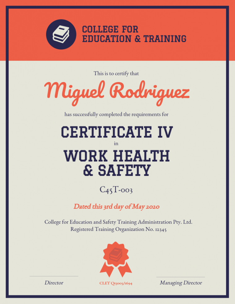 editable safety training certificate template doc