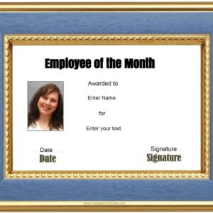 employee of the month certificate template pdf excel