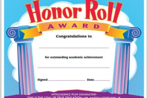 free high school honor roll certificate template ppt