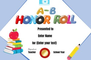 free high school honor roll certificate template sample