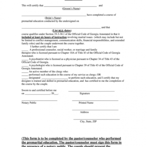 free pre marriage counseling certificate template