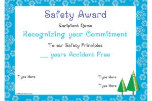 free safety award certificate template doc