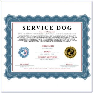 free service dog training certificate template word