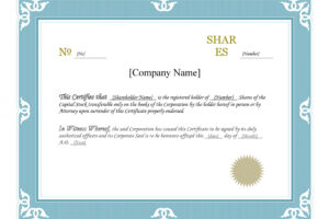 free shareholders certificate template excel