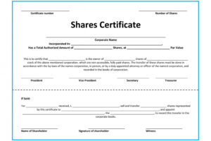 free shareholders certificate template word