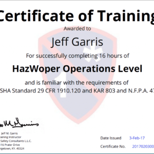 how to make a hazwoper certificate template sample