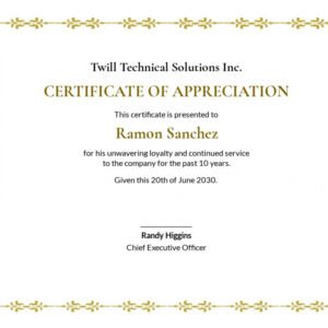 printable 10 year service certificate template sample