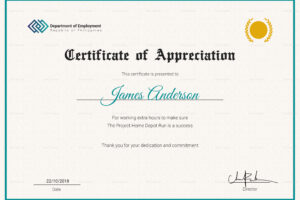printable 10 year service certificate template word