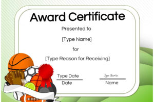printable athletic certificate template sample