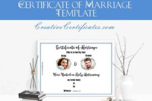 printable marriage certificate template printable doc
