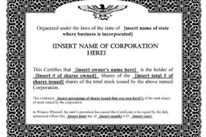 printable s corp stock certificate template ppt