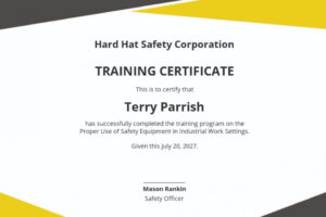 printable safety training certificate template sample