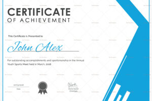 sample athletic certificate template excel