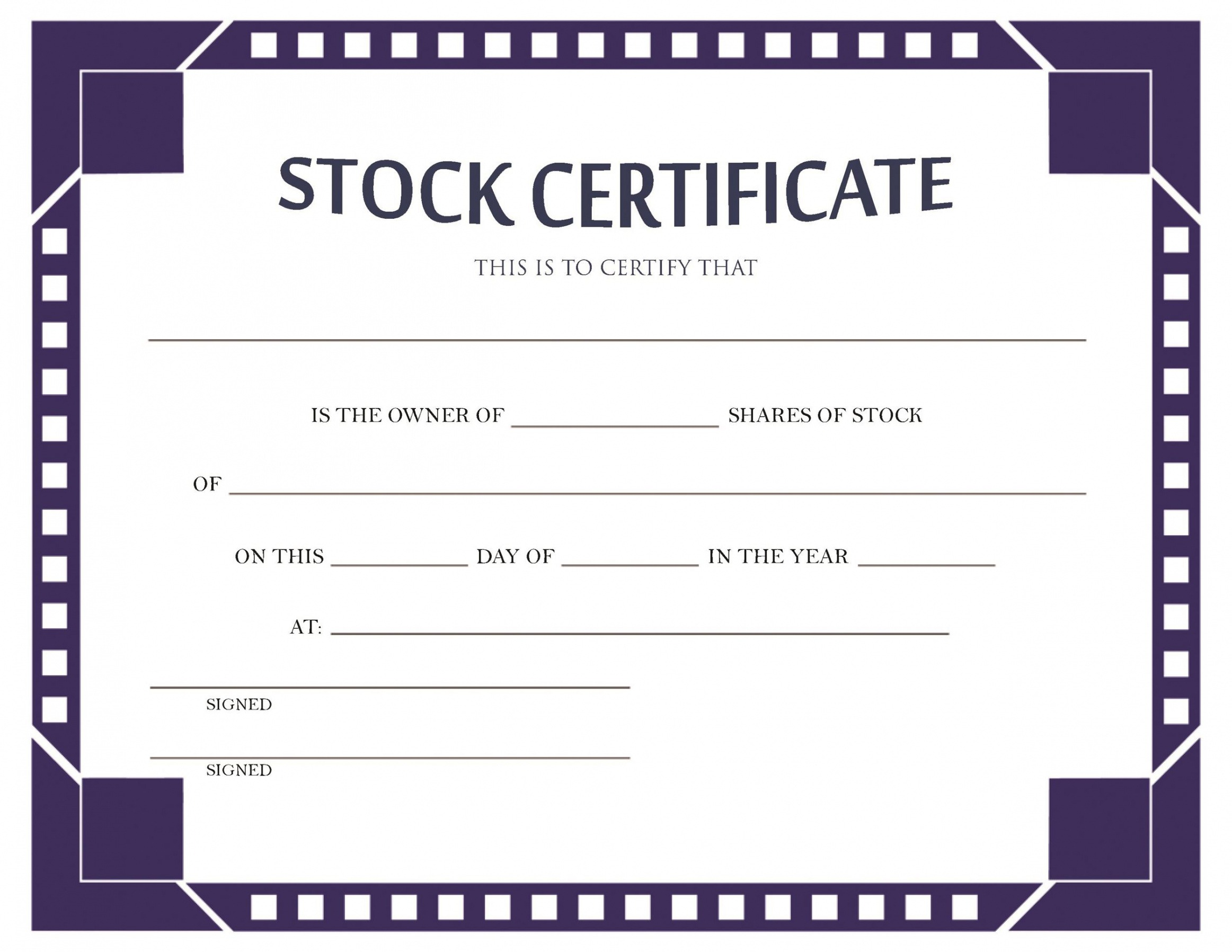 sample download stock certificate template example