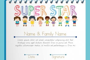 sample name a star certificate template word