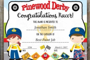 sample pinewood derby award certificate template doc
