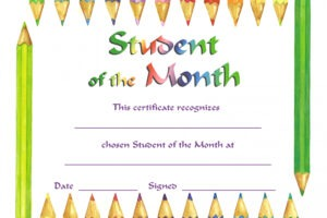 student of the month certificate template doc