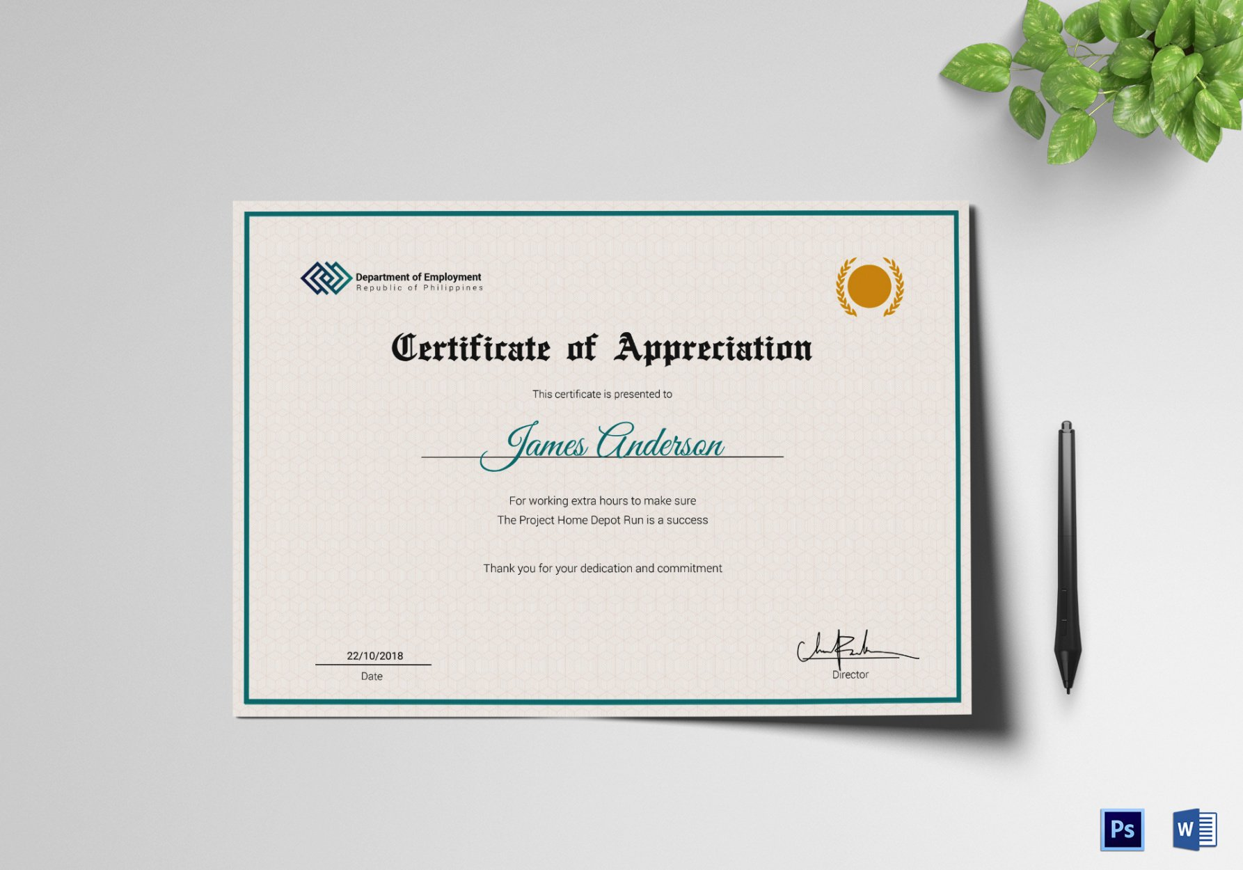 what is a 10 year service certificate template pdf