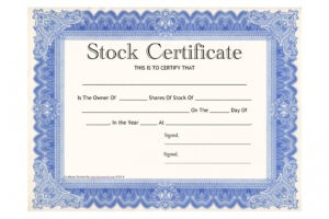 what is a downloadable stock certificate template ppt