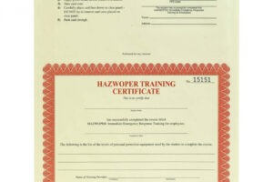 what is a hazwoper certificate template word