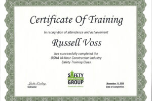 what is a osha certificate template example