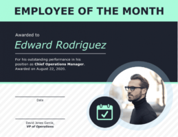 editable employee of the month certificate template with picture ppt
