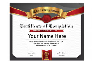 editable medical coding specialist certificate sample