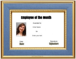 employee of the month certificate template with picture doc
