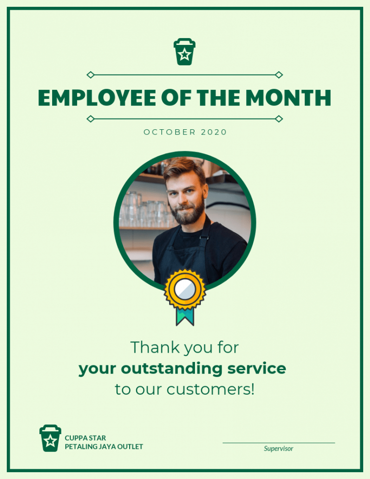 sample employee of the month certificate template with picture doc