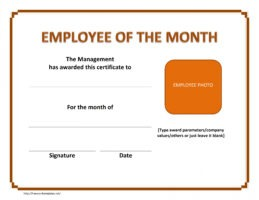 sample employee of the month certificate template with picture word
