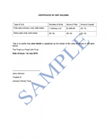 sample unit trust certificate template sample