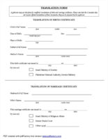 editable english translation of birth certificate template doc