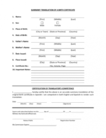 english translation of birth certificate template excel