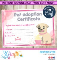free animal adoption certificate template