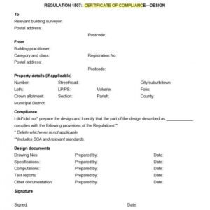 free certificate of compliance form template word