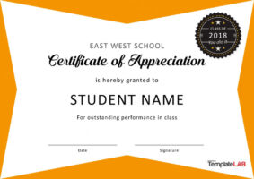 free student government certificate template excel