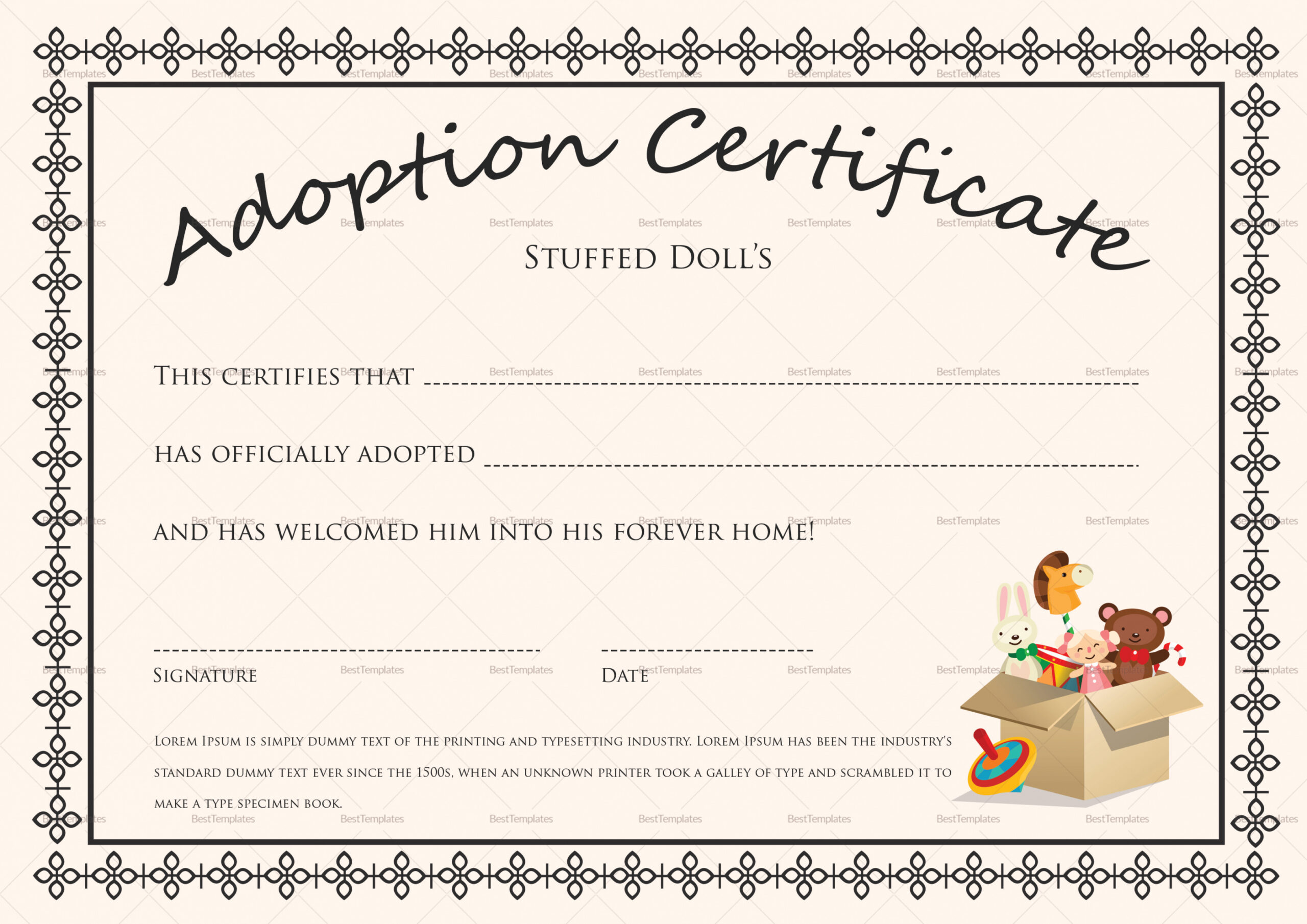 how to get a animal adoption certificate template word