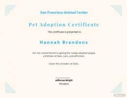 printable animal adoption certificate template sample