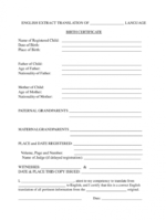 printable english translation of birth certificate template doc