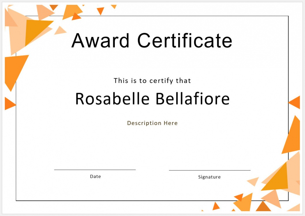 sample customizable award certificate template example
