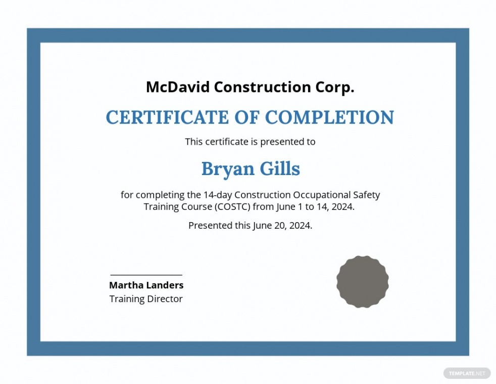 sample fire safety training certificate template word