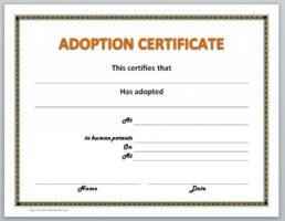what is a animal adoption certificate template ppt