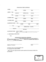 what is a english translation of birth certificate template pdf
