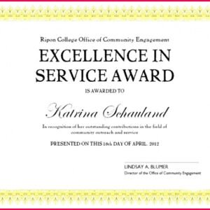 certificate for years of service template excel