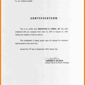 editable certificate of mailing template word