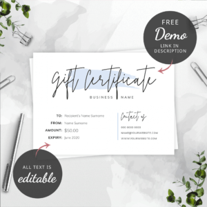 printable beauty gift certificate template pdf