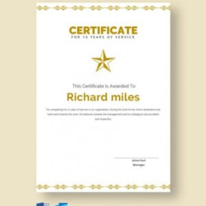 printable certificate for years of service template example
